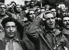 Frivillige ved afskeden, Barcelona, oktober 1938